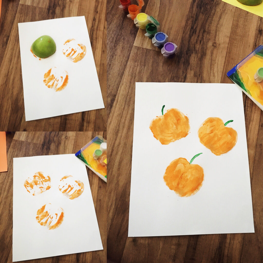 Apple pumpkin stamping